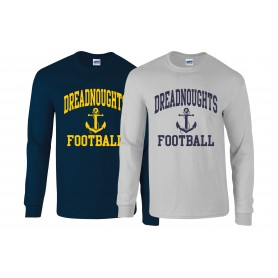 Portsmouth Dreadnoughts - Anchor Football Logo Long Sleeve T Shirt
